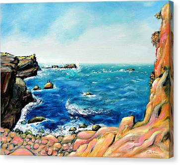 Canvas Print featuring the painting Morning Sea With Birds On Rocks by Asha Carolyn Young