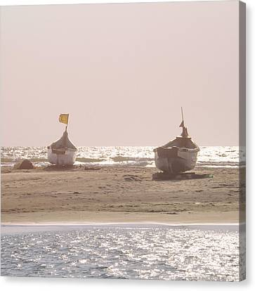 Rowboat Canvas Print - Morning Solitude by Stelios Kleanthous