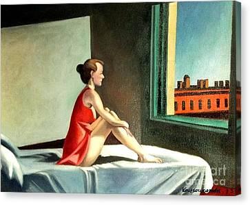 Morning Sun After E.hopper Canvas Print by Kostas Koutsoukanidis