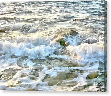 Morning Sun And Surf Canvas Print by Michael Flood