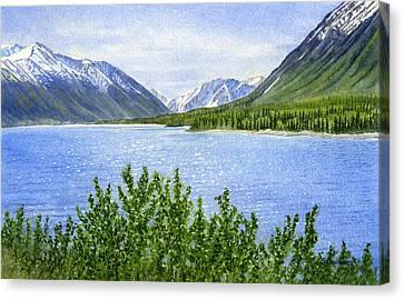 Morning Sun On Kenai Lake Canvas Print by Sharon Freeman
