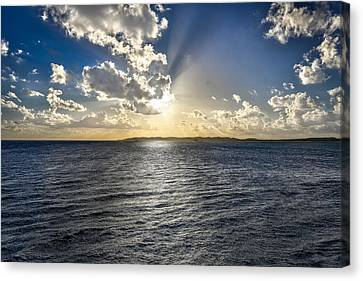 Morning Sun Punching Through The Clouds In St. Croix Canvas Print