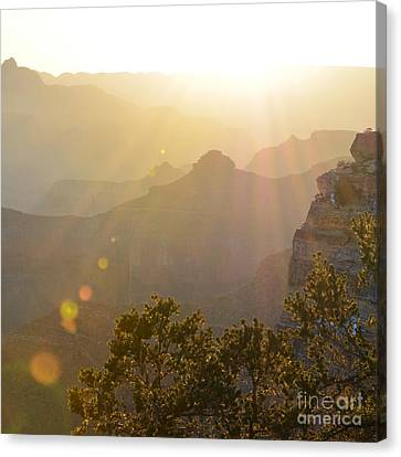Morning Sunrays Over Silhouetted Spires In Grand Canyon National Park Square Canvas Print