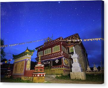 Tibetan Buddhism Canvas Print - Morning Twilight Paints The Sky In Deep by Jeff Dai