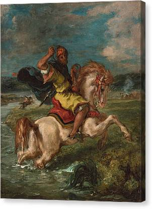Getty Canvas Print - Moroccan Horseman Crossing A Ford by Eugene Delacroix