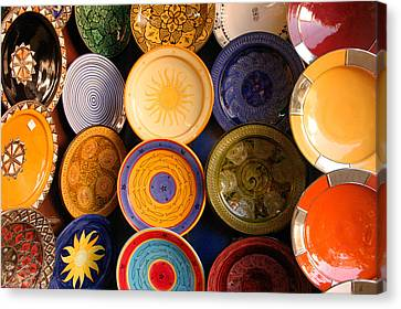 Moroccan Pottery On Display For Sale Canvas Print by Ralph A  Ledergerber-Photography