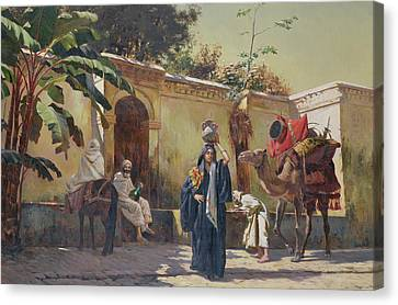 Moroccan Scene Canvas Print by Rudolphe Ernst