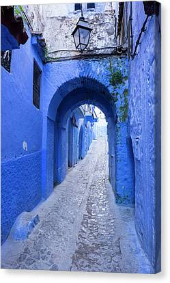 Morocco A Blue Alley In The Hill Town Canvas Print