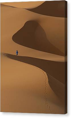 Simple Beauty In Colors Canvas Print - Morocco, Berber Blue Man Walking by Ian Cumming