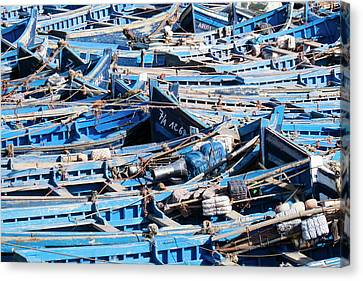 Morocco, Essaouira, Small Skiff Tied Canvas Print by Emily Wilson