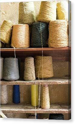 Morocco, Fes Medina, Spools Of Weaving Canvas Print