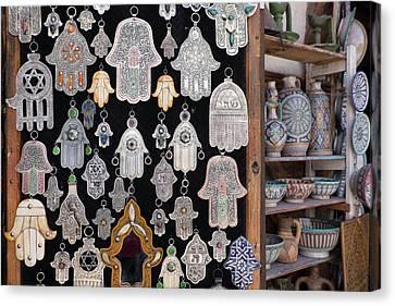 Morocco, Fez, Medina, Display Canvas Print by Emily Wilson
