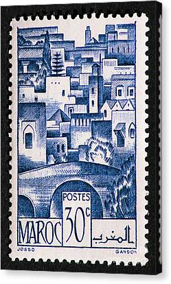 Morocco Vintage Postage Stamp Canvas Print by Andy Prendy