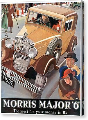 Morris Major 6 - Vintage Car Poster Canvas Print by World Art Prints And Designs