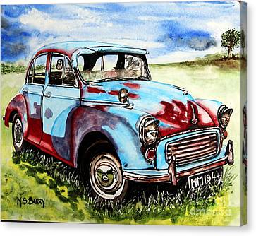 Canvas Print featuring the painting Morris Minor by Maria Barry