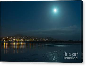 Canvas Print featuring the photograph Morro Bay At Night by Terry Garvin