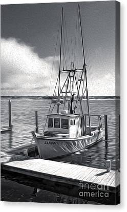 Morro Bay Fishing Boat In Duo-tone Canvas Print by Gregory Dyer