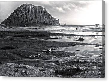 Morro Bay - Morro Rock - Desaturated Canvas Print by Gregory Dyer