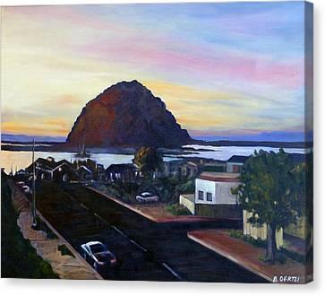 Morro Rock At Night Canvas Print
