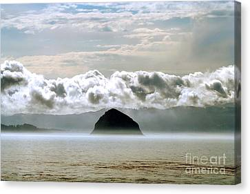 Canvas Print featuring the photograph Morro Rock Morning by Michael Rock