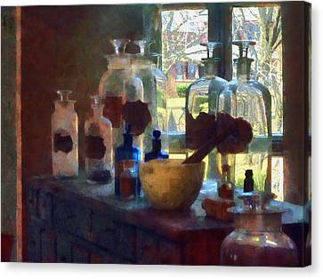 Drugstore Canvas Print - Mortar And Pestle And Bottles By Window by Susan Savad