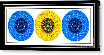 Mosaic Blue Circles With Yellow Canvas Print by Barbara Griffin