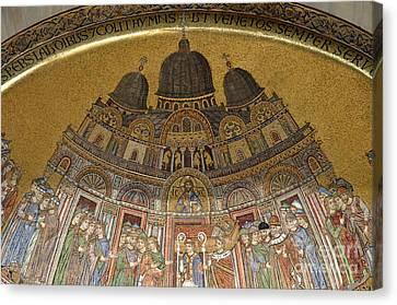 Mosaic Detail On San Marco Basilica Canvas Print by Sami Sarkis