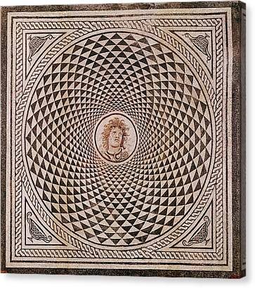 Medusa Canvas Print - Mosaic Floor With  Head Of Medusa Unknown Rome by Litz Collection
