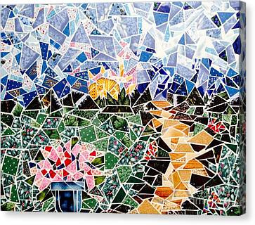 Mosaic Garden Path Canvas Print by Dani Abbott