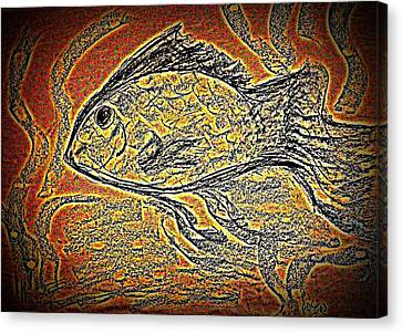 Mosaic Goldfish In Charcoal Canvas Print