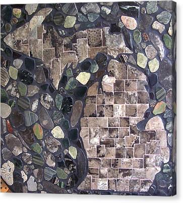 Mosaic Map Of Michigan Canvas Print