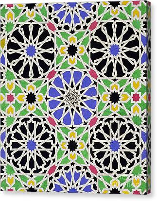Alhambra Canvas Print - Mosaic Ornament In The South Side Of The Court Of The Lions by James Cavanagh Murphy