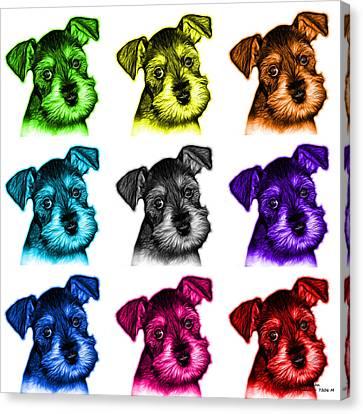 Mosaic Salt And Pepper Schnauzer Puppy 7206 F - Wb Canvas Print by James Ahn