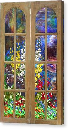 Mosaic Stained Glass - Flower Garden Canvas Print by Catherine Van Der Woerd