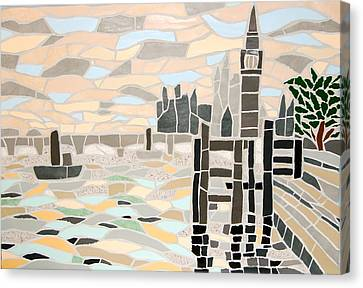 Mosaic View Of The Thames And Big Ben In London Canvas Print