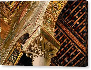 Mosaics Of Monreale  Canvas Print by Alida Thorpe