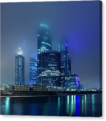 Canvas Print - Moscow City In Myst At Night by Alex Sukonkin
