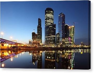 Canvas Print - Moscow City Skyline At Night by Alex Sukonkin