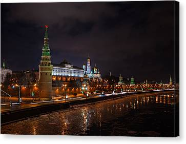Moscow Kremlin And Kremlin Embankment At Night - Featured 3 Canvas Print by Alexander Senin