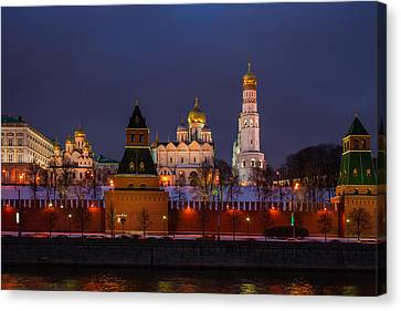 Moscow Kremlin Cathedrals At Night - Featured 3 Canvas Print by Alexander Senin
