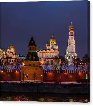 Moscow Kremlin Cathedrals At Night - Square Canvas Print by Alexander Senin