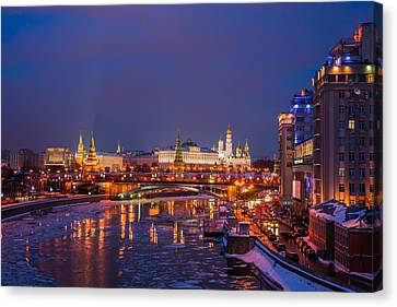 Moscow Kremlin Illuminated Canvas Print by Alexander Senin