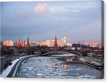 Moscow Kremlin In Winter Evening - Featured 3 Canvas Print by Alexander Senin