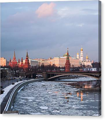 Moscow Kremlin In Winter Evening - Square Canvas Print by Alexander Senin