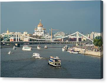Moscow-river Traffic In Summertime - Featured 3 Canvas Print by Alexander Senin
