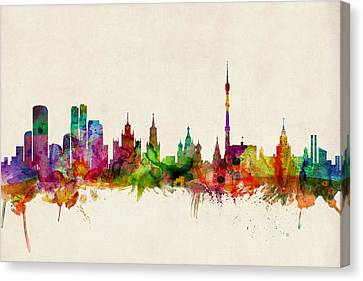 Map Art Canvas Print - Moscow Skyline by Michael Tompsett