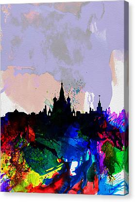 Moscow Skyline Canvas Print - Moscow Watercolor Skyline by Naxart Studio
