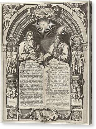 Moses And Aaron With The Tablets Of The Law Canvas Print by Simon Frisius And Gerard Valck