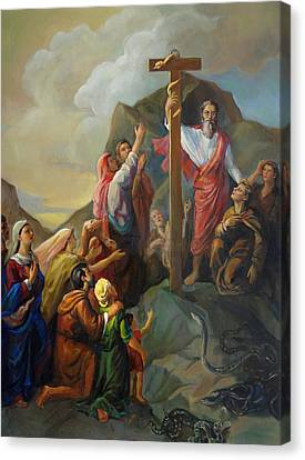 Canvas Print featuring the painting Moses And The Brazen Serpent - Biblical Stories by Svitozar Nenyuk