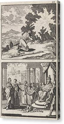 Moses At The Burning Bush, Moses And Aaron Canvas Print by Caspar Luyken And Barent Visscher And Andries Van Damme